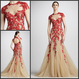 Robe De Bal Tulle Nue Pas Cher-2013 Elie Saab Robe nue Tulle Red Lace Hollow Back Prom Gown