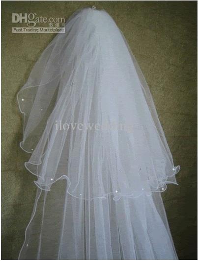 2015 neue elegante billige lange zweireihige Chaple Wedding Schleier Perlen Rand weiß Elfenbein Linght und weiches Netz in Suzhou China Brautschleier YV-2 gemacht