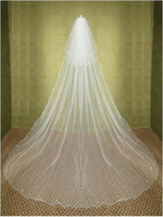 Wholesale Two Tier Chapel Length Veil - 2015 New Elegant Cheap Long Two-tier Chaple Wedding Veils Beading Edge White Ivory Linght and Soft Net Made in Suzhou China Bridal Veil YV-2