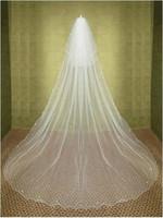 véus de noiva china venda por atacado-2015 nova elegante barato longo de dois níveis véus de noiva Chaple Beading borda branco marfim Linght e Soft Net Made in Suzhou China véu de noiva YV-2