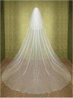 velos de novia china al por mayor-2015 nuevo elegante barato largo de dos niveles chaple velos boda rebordear borde blanco marfil Linght y Soft Net hecho en Suzhou China velo de novia YV-2