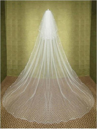Wholesale Rhinestone Chapel Length Veils - 2015 New Elegant Cheap Long Two-tier Chaple Wedding Veils Beading Edge White Ivory Linght and Soft Net Made in Suzhou China Bridal Veil YV-2