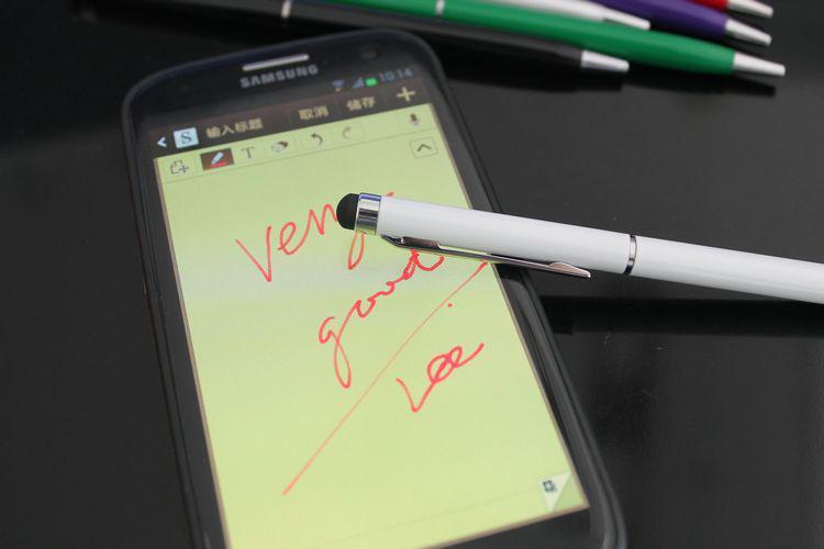 2 in 1 Kugelschreiber kapazitive Schreibkopf-Noten-Feder für iPad iPhone Tablette PC Mobiltelefon mit Klipp über DHL / ; /