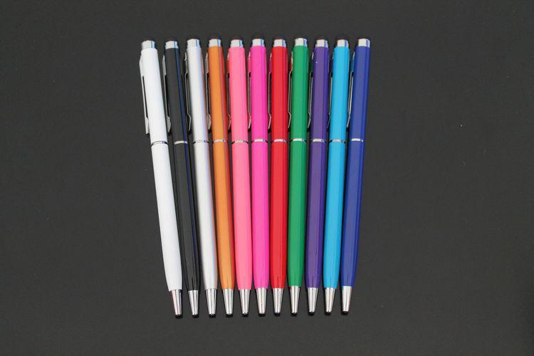 2 i 1 Ball Pen Capacitive Stylus Touch Pen för iPad iPhone Tablet PC Mobiltelefon med Clip via DHL / ; /