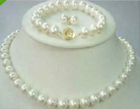 Wholesale Gold Plated Natural Pearl Bracelet - Best Buy pearl jewelry natural 8-9mm Akoya AAA white Pearl Necklace 18INCH Bracelet 7.5inch& Earring set