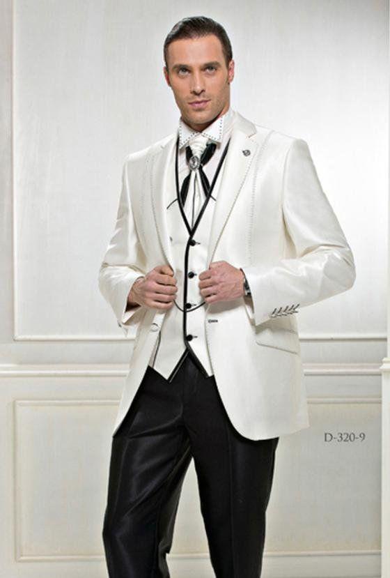 Maßgeschneiderte 2019 Neue Design Bräutigam Smoking Trauzeuge Hochzeit Groomsman Anzug Groomsman Schwarz elfenbein Bräutigam Anzüge Jacke + Pants + Tie + Weste
