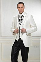Wholesale white linen piece suit blue tie resale online - Custom made New Design Groom Tuxedos Best man Wedding Groomsman Suit Groomsman Black ivory Bridegroom Suits Jacket Pants Tie Vest