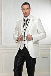 Wholesale design men wedding suit black - Custom made 2014 New Design Groom Tuxedos Best man Wedding Groomsman Suit Groomsman Black ivory Bridegroom Suits (Jacket+Pants+Tie+Vest)