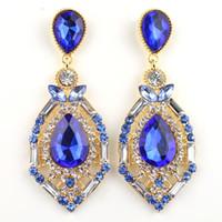 большие серьги из горного хрусталя оптовых-Роскошные элегантные кристалл драгоценных камней, горный хрусталь, большие серьги-гвоздики 4 цвета Горячее надувательство Vintage Earings Accessories ER-016054