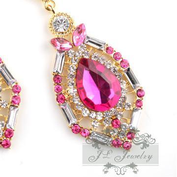 luxe élégant cristal gemme strass grand mode boucles d'oreilles 4 couleurs vente chaude Vintage boucles d'oreilles accessoires ER-016054