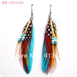 Wholesale Peacock Feathers Jewelry - Hot Sell colorful peacock feather Earrings,wholesale fashion jewelry,Free shipping, ER-50023 New yellow blue