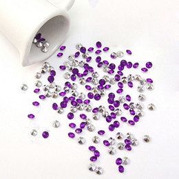 Wholesale Purple Wedding Diamond Decoration Confetti - (1000pcs=1 set) 4.5mm (1 3 Carat) Purple with Silver Plated Faux Acrylic Bead Diamond Confetti Table Scatter Wedding Favor Party Decoration