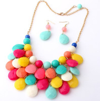 Wholesale Cheap Acrylic Gem Necklace - Europe Style 6 Colors Bib Resin Statement Necklace Chunky Multi Layers Resin Gem Bubble Cheap Jewelry FREE shipping DHL MES