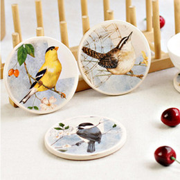 Wholesale Bird Dinnerware Set - Dia 105mm Color Bird Cup Pad Mat Ceramic Corkwood Dinnerware Set Home Decoration 4pcs lot SH042