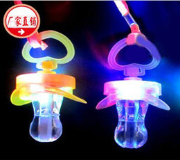 Wholesale Led Flashing Whistles - Light whistle, flash whistle, flash nipples, pacifiers light, led toy, Party Supplies free shipping