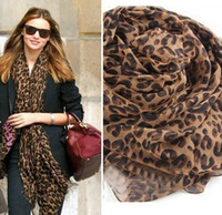 Wholesale Wholesale Muslin Scarf - Hot ! Pop Fashion Women Lady Leopard Print Soft Shawl Muslin Scarf Wrap Long Pashmina Stole (a008)