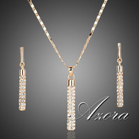 Wholesale Set Bracelet Pendant Necklace Earrings - 18K Real Gold Plated SWA ELEMENTS Drop Earrings and Pendant Necklace Sets FREE SHIPPING!(Azora TG0007)
