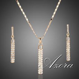 Vente en gros Cristal clair plaqué or véritable 18K, Autriche SWA ELEMENTS Boucles d'oreilles pendantes et ensembles de pendentif LIVRAISON GRATUITE! Vente chaude