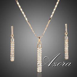 Ingrosso Gli orecchini di goccia e la collana di cristallo placcati oro reale 18K dell'oro reale placcato Austria SWD imposta gli insiemi SPEDIZIONE GRATUITA! Vendita calda