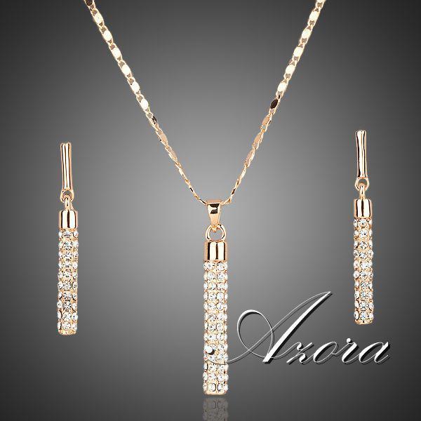 Kristallklares 18K reales Gold überzogene Tropfen-Ohrringe Österreichs SWA ELEMENTS und hängende Halsketten-Sätze FREIES VERSCHIFFEN! Heißer verkauf