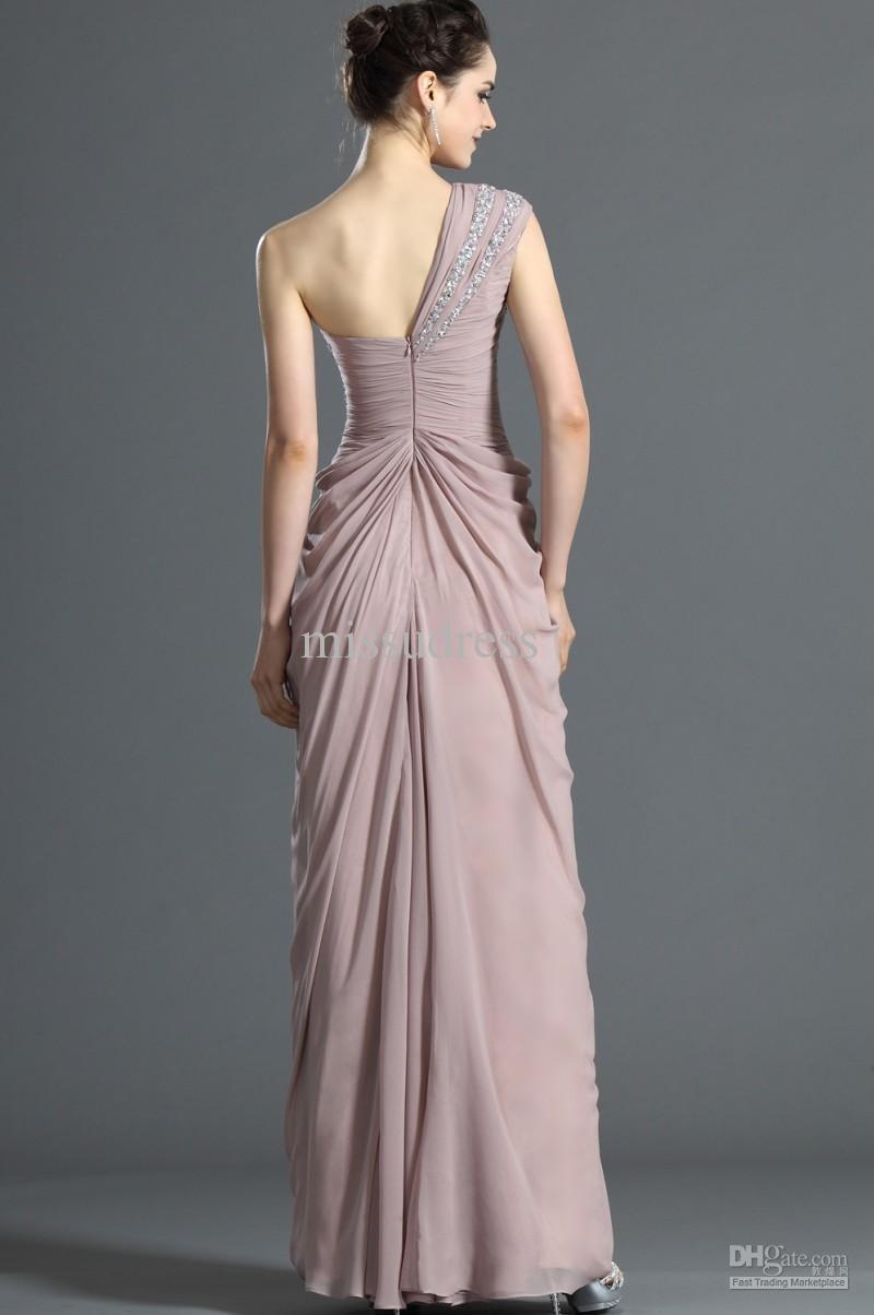 Elegantes cristales de un hombro rebordear hasta el suelo gasa vestido de noche formal vestido de la madre de la novia