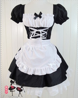Wholesale Lolita Sexy - New Fashion Japanese anime EVA cosplay lolita maid fancy dress Halloween Christmas costume sexy women lace dresses black gift drop shipping