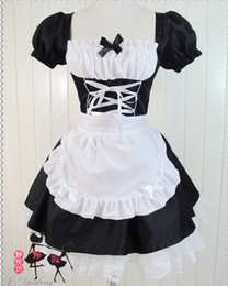 Wholesale Lolita Anime Costume - New Fashion Japanese anime EVA cosplay lolita maid fancy dress Halloween Christmas costume sexy women lace dresses black gift drop shipping