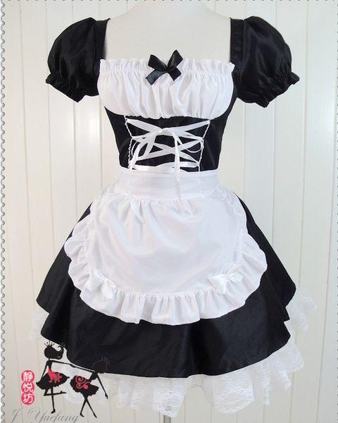 Neue Art und Weise japanische Anime EVA Cosplay Lolita Magd Fancy Dress Halloween Weihnachten Kostüm sexy Frauen Spitze Kleider schwarz Geschenk Tropfenverschiffen