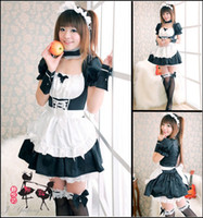 Wholesale Japanese Lolita - Fashion Japanese anime EVA cosplay lolita maid fancy dress Halloween Christmas costume sexy women lace dresses black