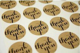"""Gracias etiquetas engomadas del sello online-Etiquetas engomadas de Brown Kraft de la tipografía de la """"gracias"""" para la etiqueta engomada del sello del bolso de la tarjeta de los sobres"""