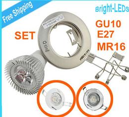 Wholesale Downlight Frame - 3W 270lm GU10 or E27 or MR16 AC85-265V LED DOWNLIGHT Set Frame FITTING HOLDER CREE Free by FEDEX TNT