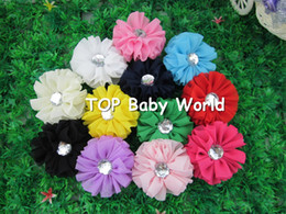 "Wholesale Hair Stone Flower Clips - Fashion 2.4"" solid chiffon hair flower with clear stone for baby,hair accessories,baby flower With ribbon hair clip,40pcs lot"