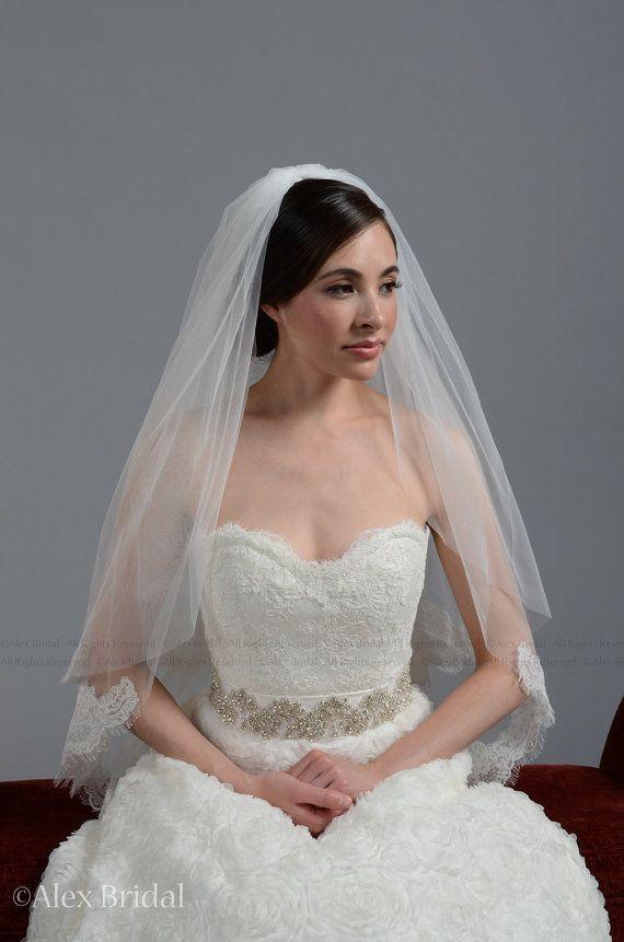 In Store 2 Tier Fingertip Length Alencon Lace Wedding Bridal Veils 2 ...