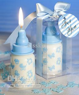 Partihandel - Arabiska bröllop favoriserar Rosa Babyflaska Stearinljus med baby-tema design 20st / mycket för baby shower och baby present bröllopsgåva