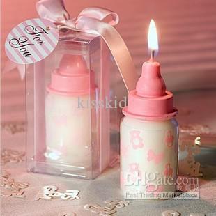 Vente en gros - Faveurs de mariage en arabe faveur rose bébé bouteille bougie faveur avec la conception sur le thème du bébé / pour baby shower et cadeau bébé cadeau de mariage