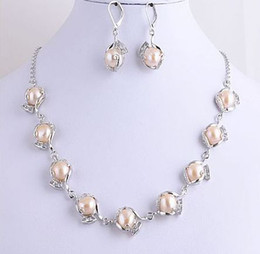 """Wholesale Buy Plates - Best Buy New pearl jewelry natural genuine Charm Pink Natural Pearls Zircon Necklace Earrings 18"""""""