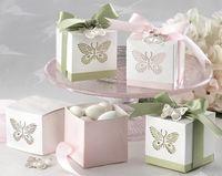 ingrosso farfalla caramella blu-100 pezzi rosa o giallo o verde o blu da sposa festa nuziale bomboniera regalo scatola di caramelle