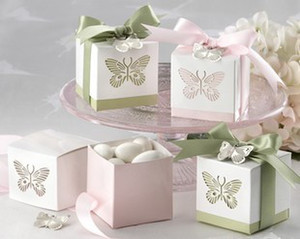 Wholesale 100 Pink or Yellow or Green or Blue wedding butterfly bridal party favor candy box gift