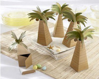 Wholesale Wedding Favor Boxes Beach Theme - 100 Palm Tree Wedding Favor Beach Theme Favor Boxes Candy Gift Box New