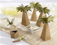 Wholesale Beach Theme Wedding Boxes - 100 Palm Tree Wedding Favor Beach Theme Favor Boxes Candy Gift Box New