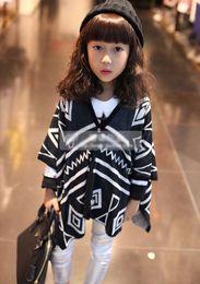 Girl poncho kids online shopping - new girls fashion knitting cardigan children geometry shawl baby sweater kids coat tops autumn clothing p l