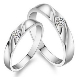 Wholesale Imitation Platinum Silver Wedding Rings - 30% 925 Sterling Silver Rings 3 Layer White Gold Overlay Rings For Couple Austrian Crystal Wedding Couple Finger Jewelry Brand New