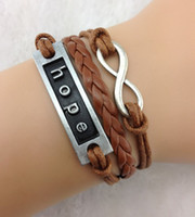 Wholesale Infinity Hope - Karma- infinity bracelets hope bracelet,coffee wax cord braid leather charm bracelets jewelry 10pcs lot hy353