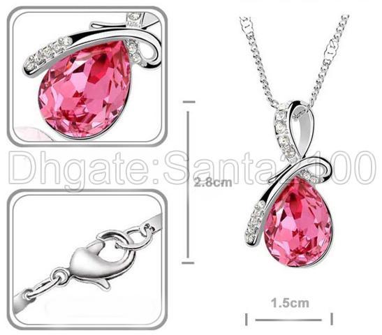 2 ciondoli collane con goccia d'acqua da donna moda cristallo strass gioielli di lusso i tra cui scegliere