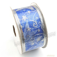 Wholesale Blue 38mm Ribbon - 25mm 38mm 50mm 20M lot four colors Ribbon Silver Stars Organza Ornament Fit Christmas Decorations & Handcraft party supplies decoration