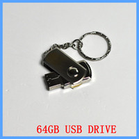el envío libre de 64 GB giratoria de metal llavero personalizado USB 2.0 Flash Memory Pen Drives Sticks discos Pendrives