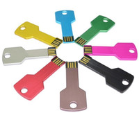 Wholesale custom usb memory sticks - free DHL 32GB metal Key Style stainless steel waterproof custom logo USB 2.0 Flash Memory Pen Drives Sticks Disks Discs 32GB Pendrives 50pcs
