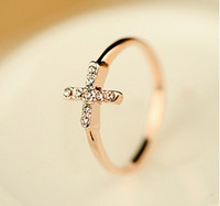 Wholesale Simple Single Rings - LOVELY Single- row Diamond Cross Gold Ring Simple temperament Lover Rings