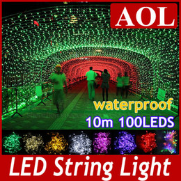 Wholesale Pink Wedding Colors - Outdoor Indoor 110V 220V 9 Colors 10m 100 LED String Lights Holiday Christmas Xmas Wedding Decorations Party New Year's Lighting