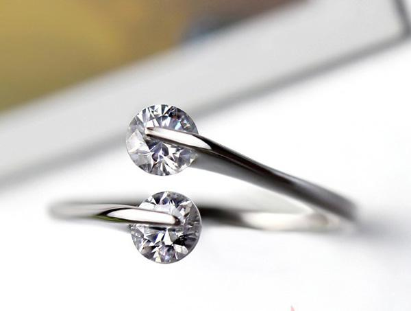925 Sterling Silber Ringe Hochzeit Offene Fingerringe Österreichischen Kristall Fingerschmuck Böhmischen Frauen Luxus Schmuck Nagelneu